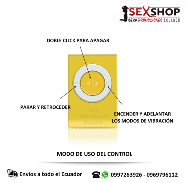 Huevo Vibrador Control Remoto Inalambrico - uso del control
